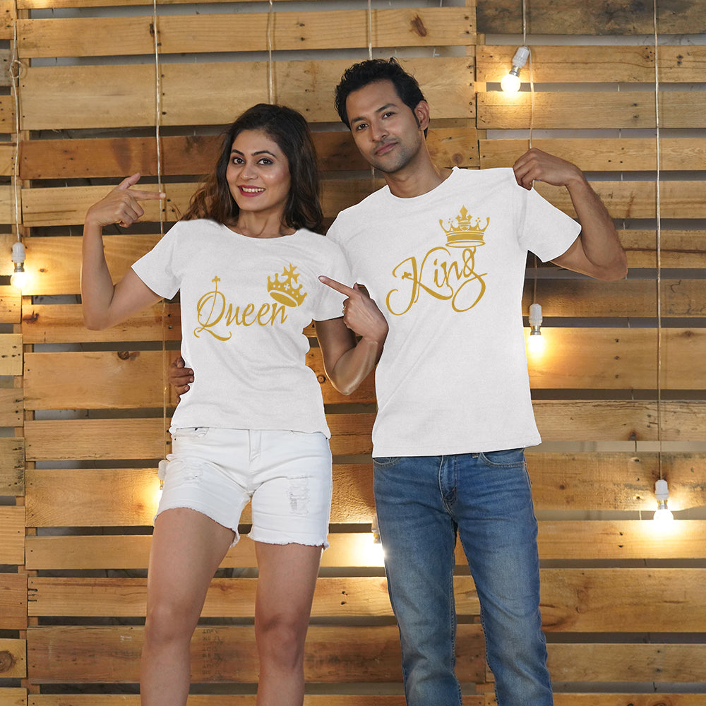 King and Queen Couple T-Shirts in White