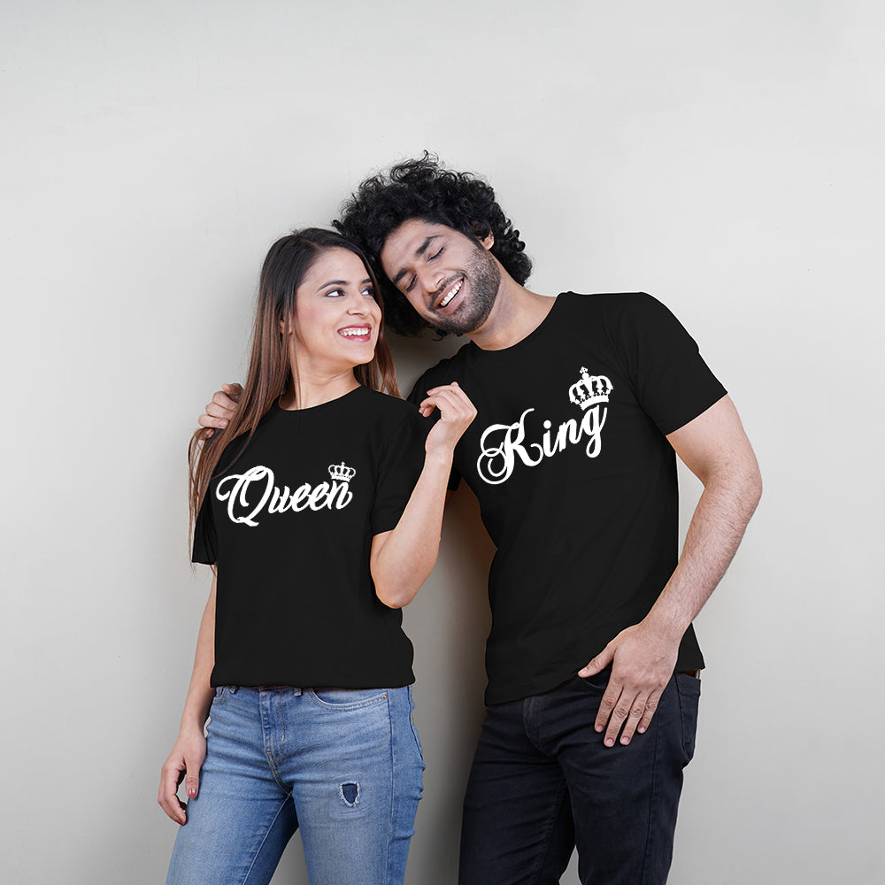 Stubborne King and Queen Black Couple T-Shirt Combo