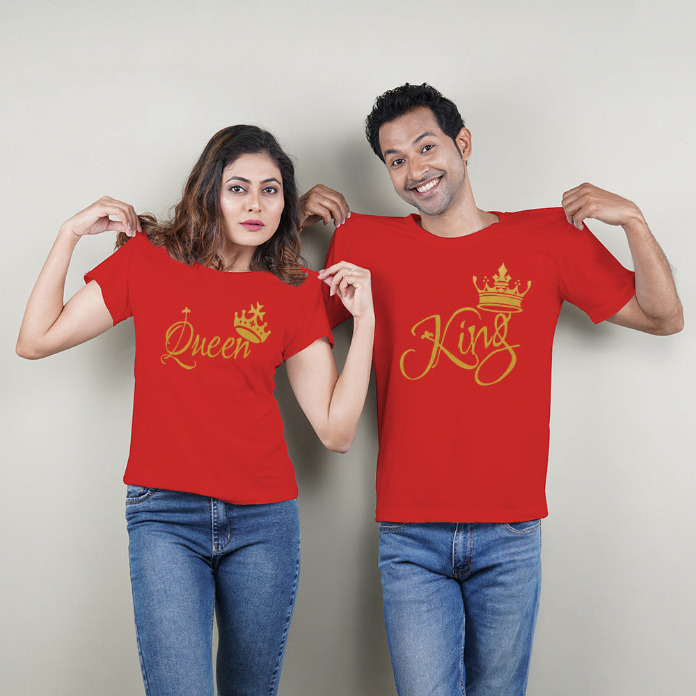 King and Queen Couple T-Shirts in Red