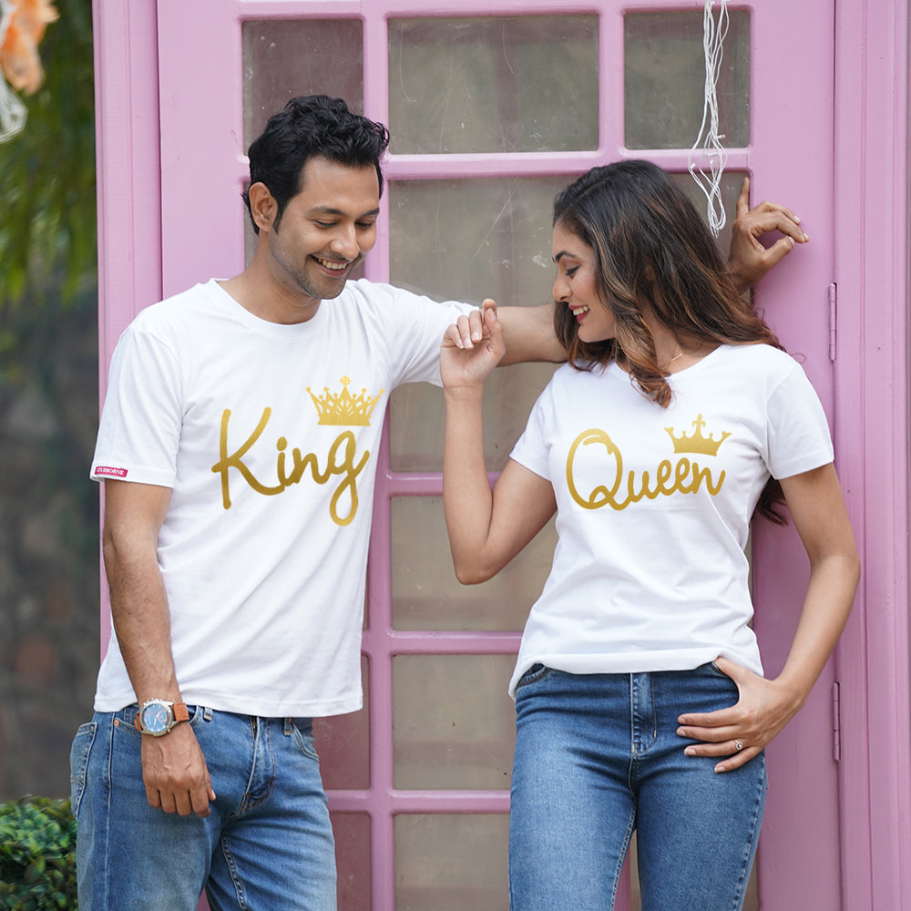 Stubborne King and Queen White Couple T-Shirt Combo- Gold Foil
