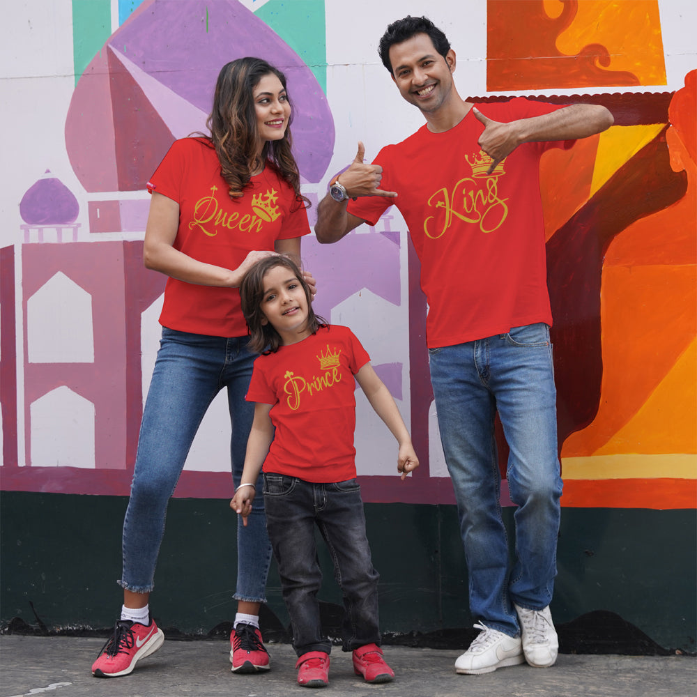 King Queen Prince T-Shirts Family of 3 Red