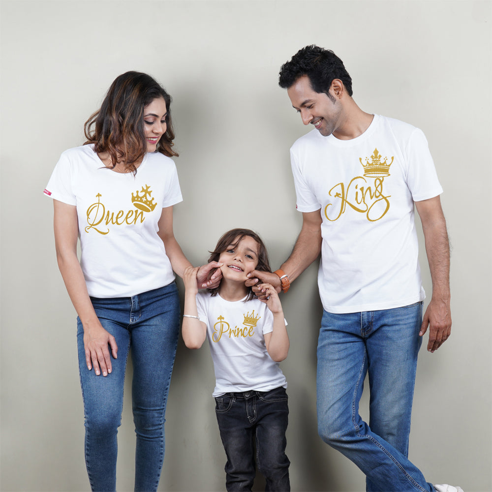 King Queen Prince Family of 3 T-Shirt in White