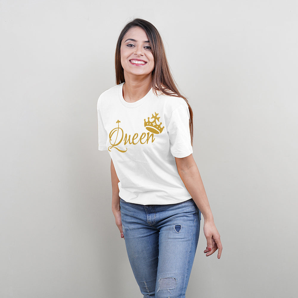 King Queen Princess Family of 3 T-Shirts in White