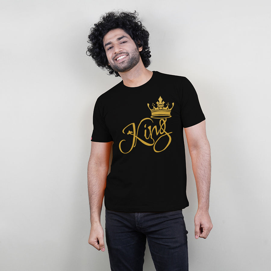 King Queen Prince T-Shirts Family of 3 in Black