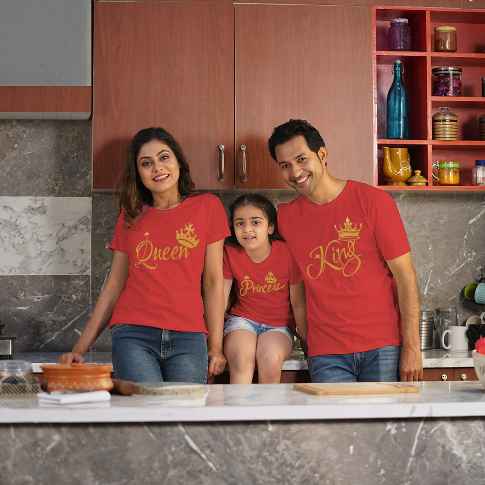 King Queen Princess T-Shirts Family of 3 in Red
