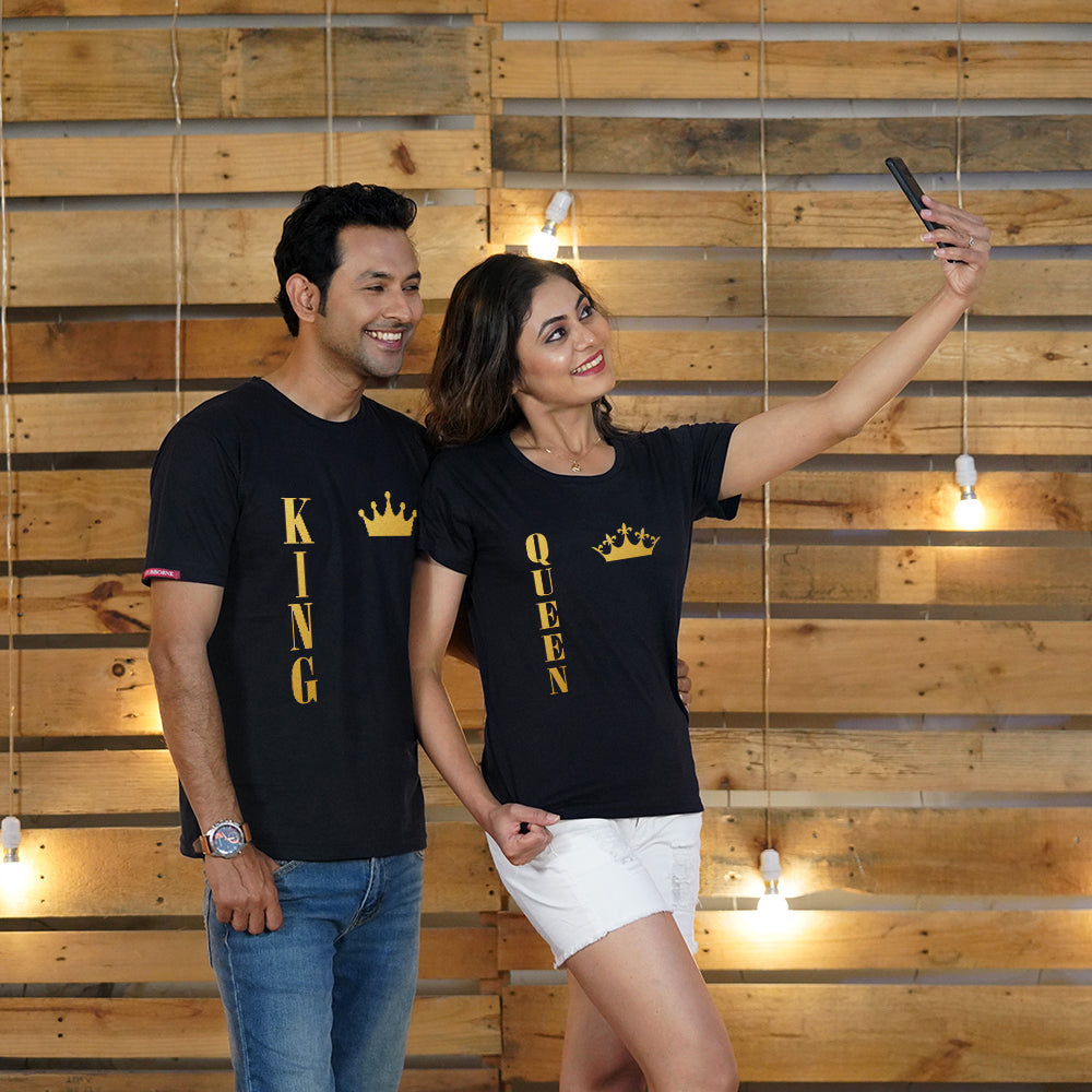 Stubborne King And Queen Gold Foil Print Couple T-Shirt