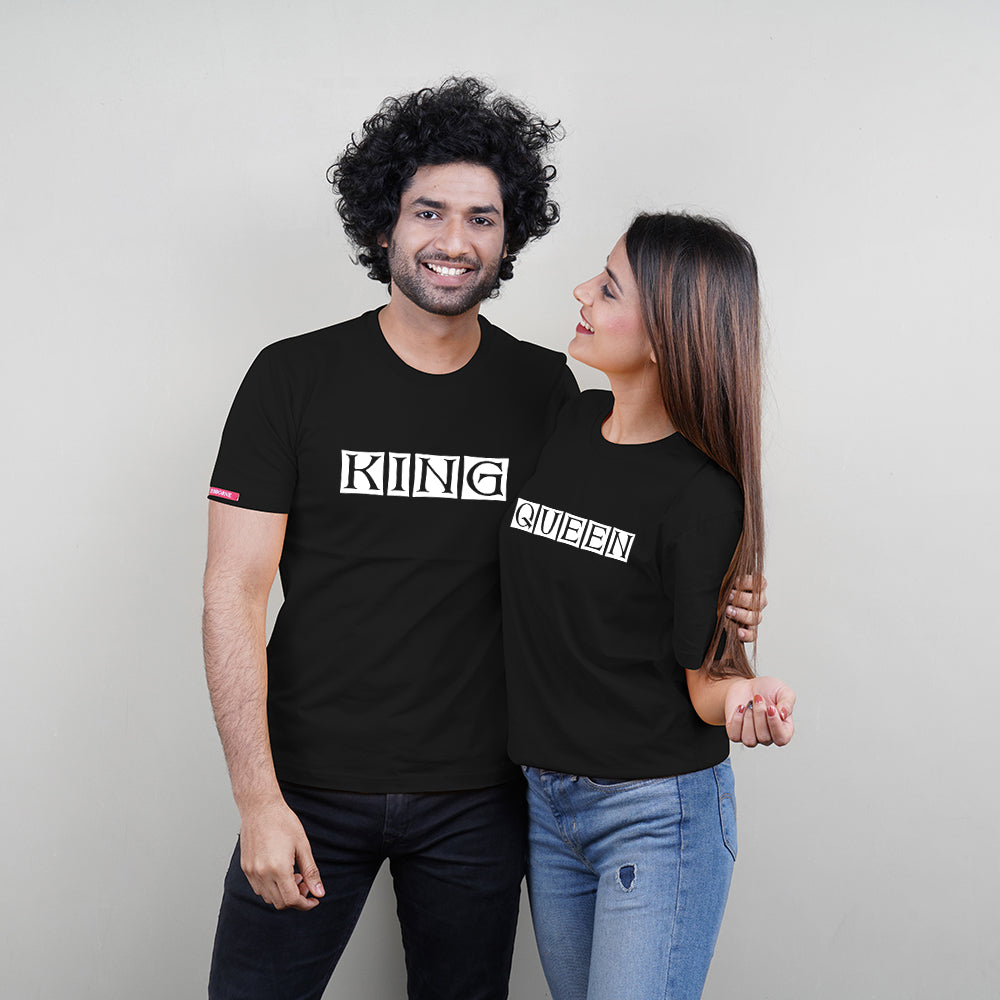 Stubborne King and Queen Printed Black Couple T-Shirt Combo