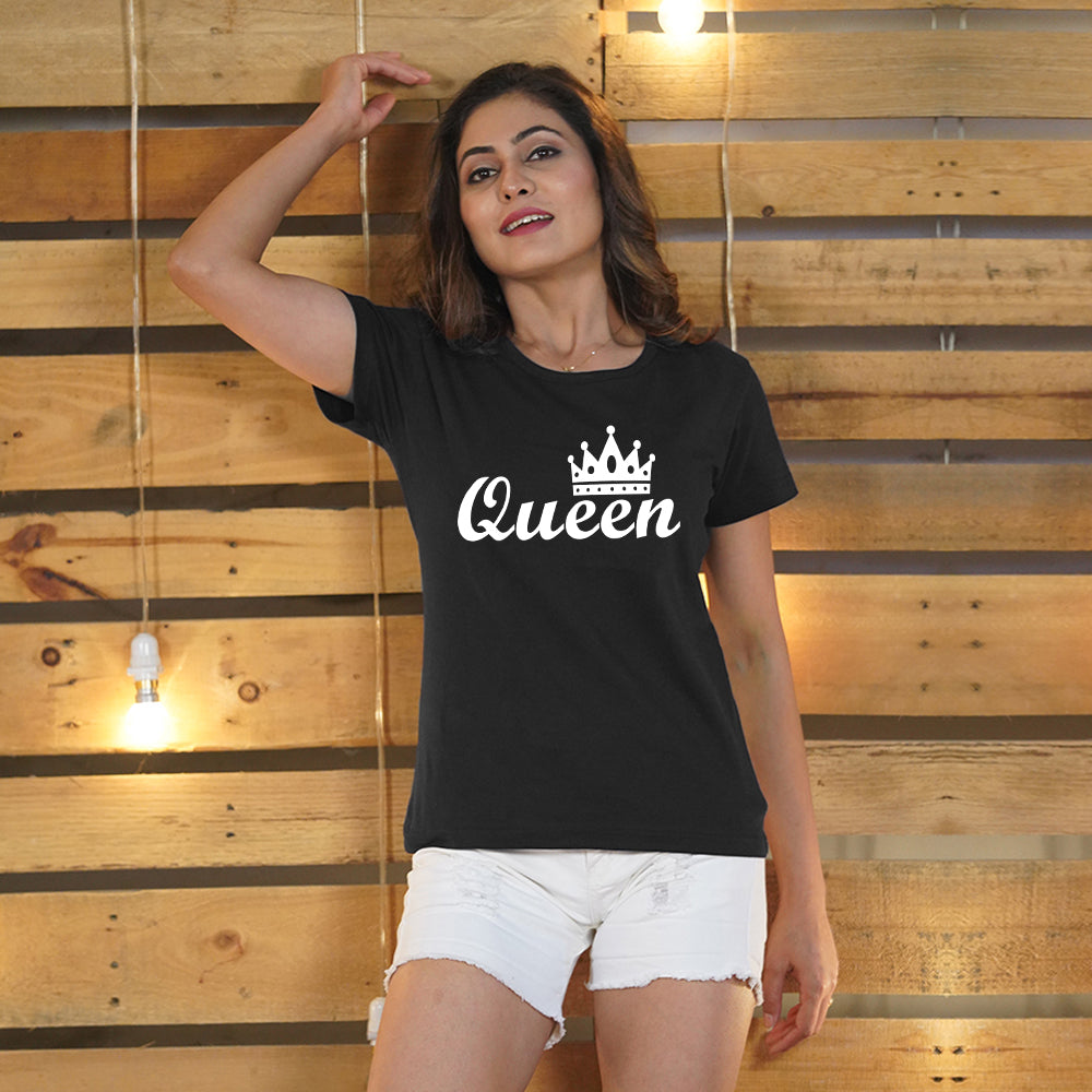 Stubborne King and Queen Crown Couple T-Shirt Combo