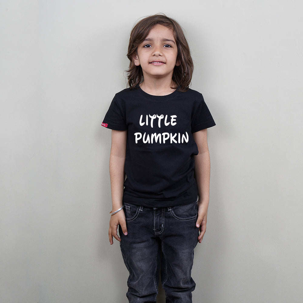 Black Color Kids T-Shirt (Little Pumpkin) Stubborne
