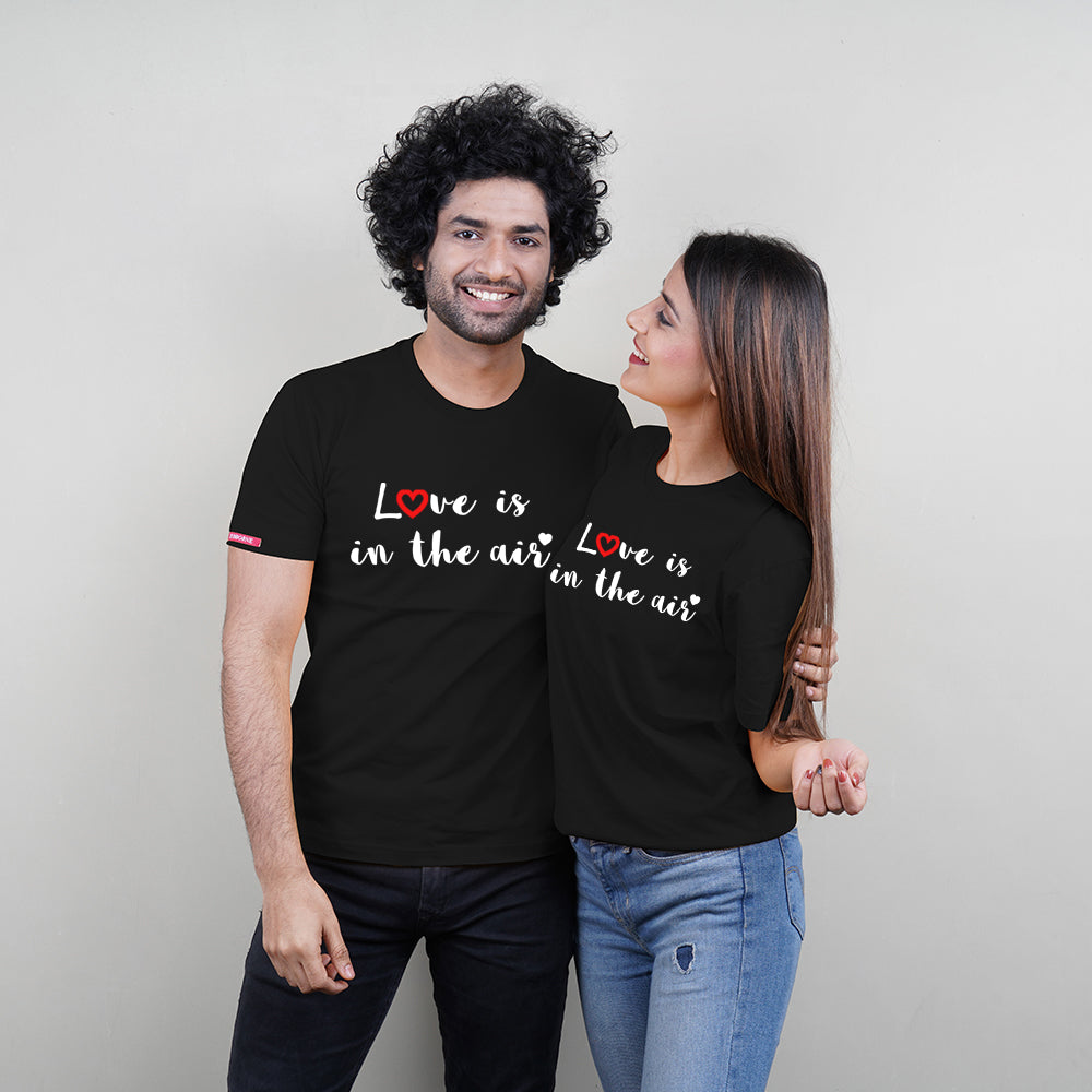 Stubborne Love Is In The Air Couple T-Shirt Combo