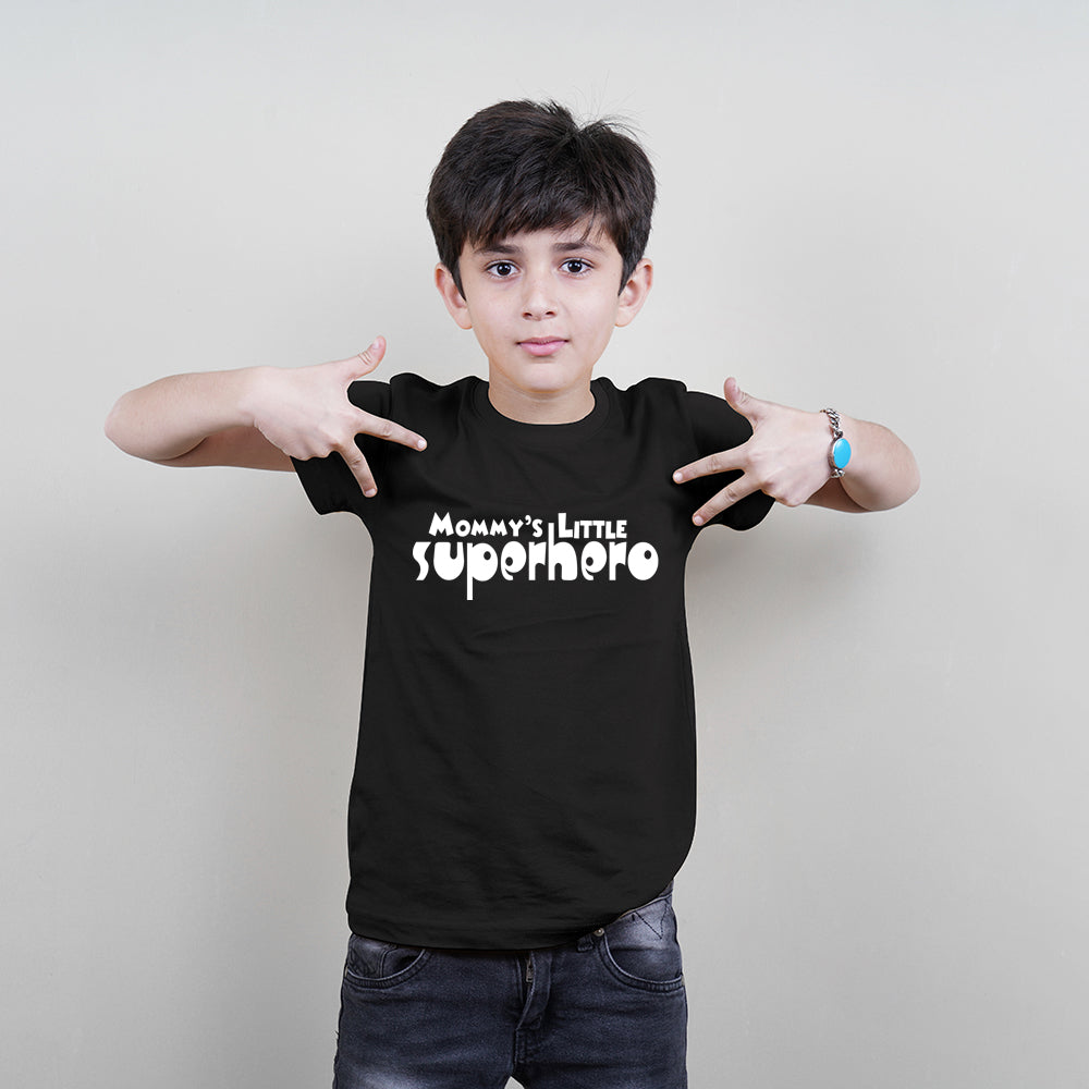 (Boys) Kids T-Shirt (Mommy's Little Superhero) Stubborne