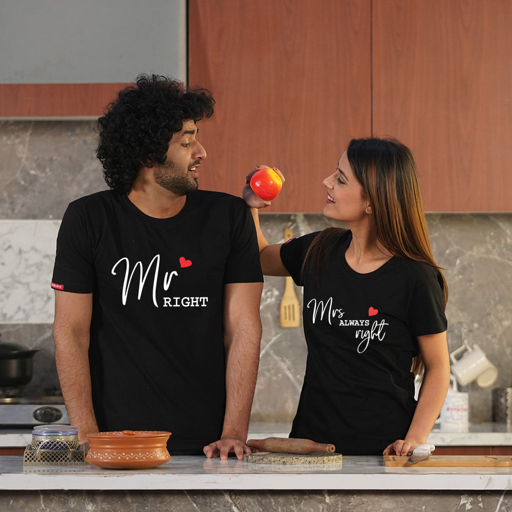 Mr Right Mrs Always Right Couple T-Shirt