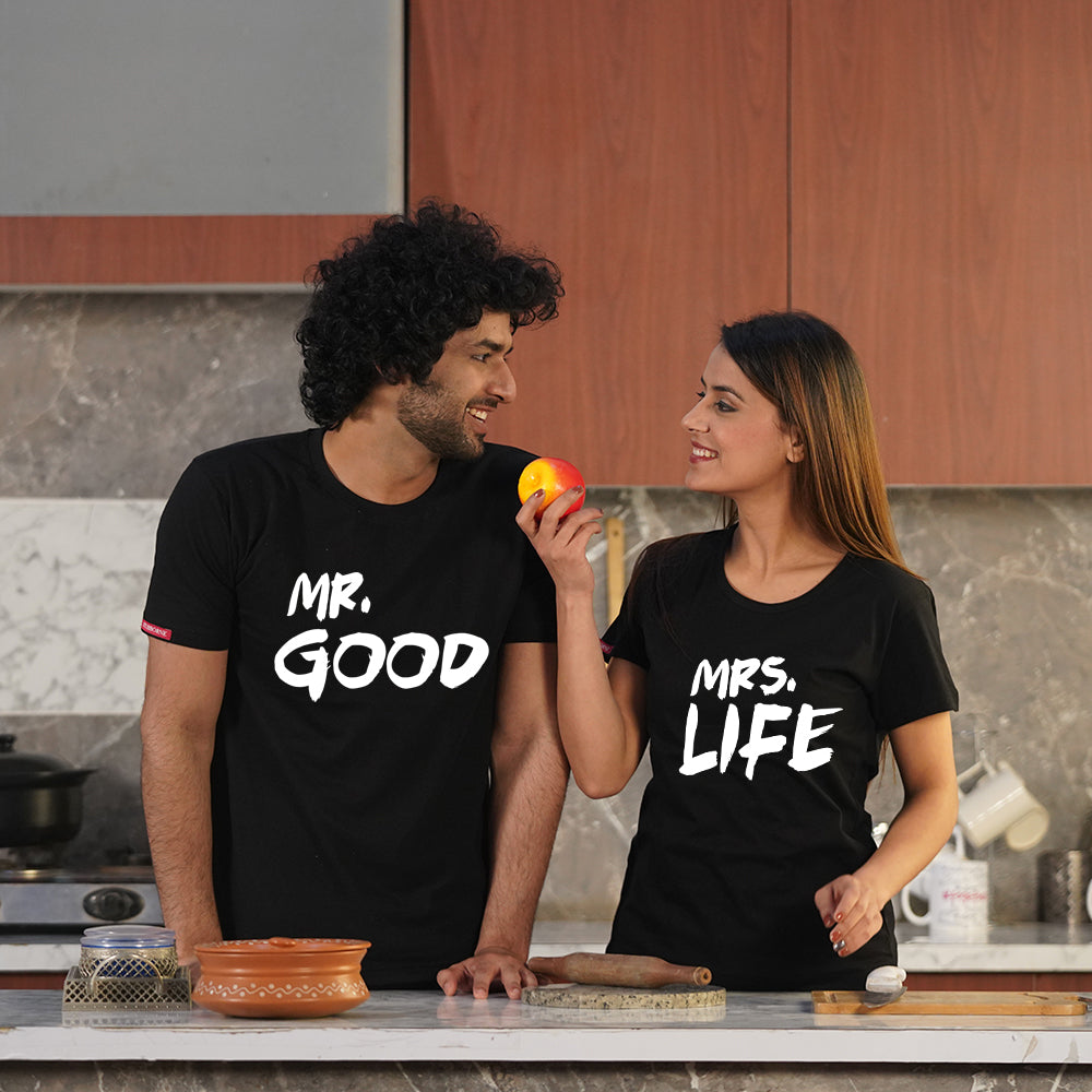 Stubborne Mr And Mrs Good Life Couple T-Shirt Combo
