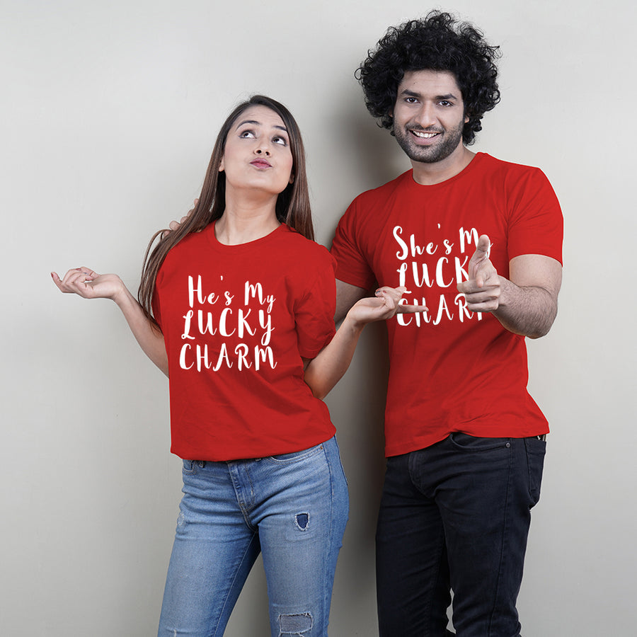 Stubborne Lucky Charm Couple T-Shirt Combo