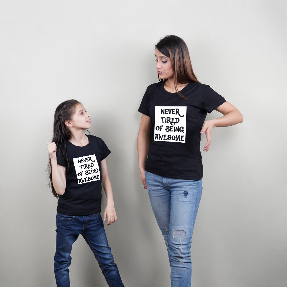 Stubborne Awesome Mom Daughter Black Matching T-Shirt