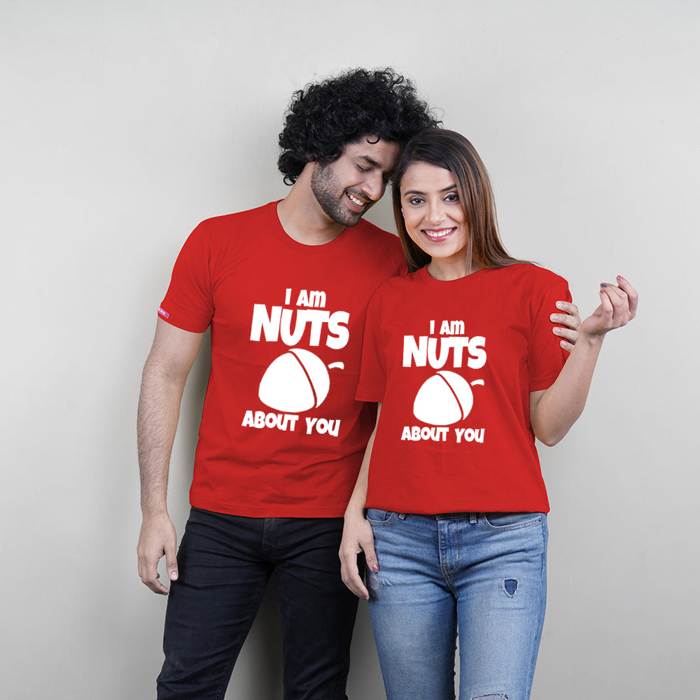 Stubborne Nuts About You Couple T-Shirt Combo