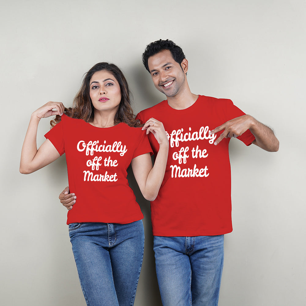 Stubborne Officially Off The Market Couple T-Shirt Combo