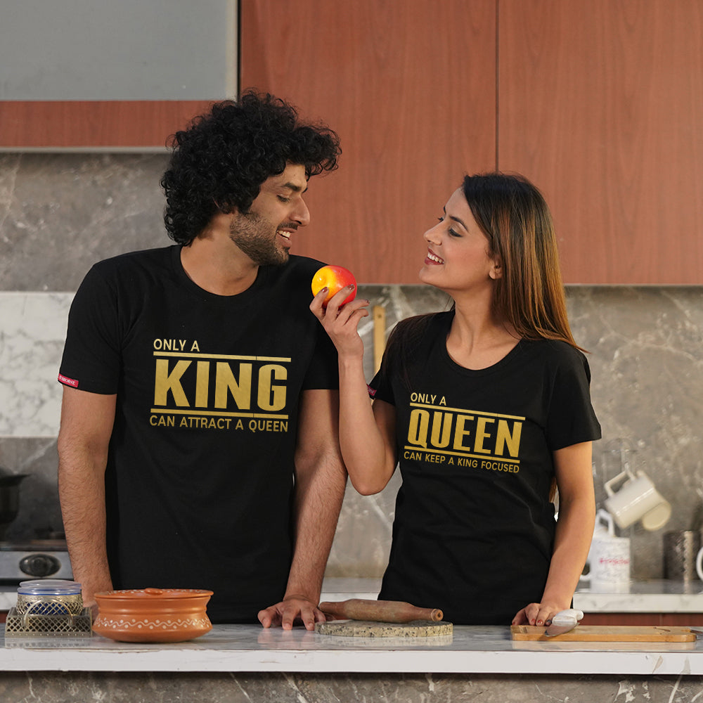 Stubborne Only A King And Queen Couple T-Shirt Combo
