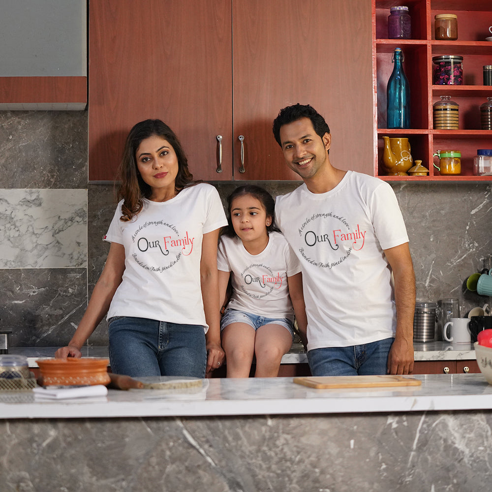 Our Family Strength Mom Dad Kid TShirt Combo