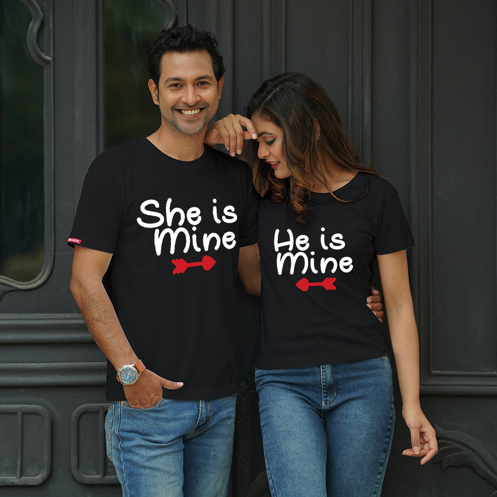 Stubborne He Is Mine She Is Mine Black Couple T-Shirt