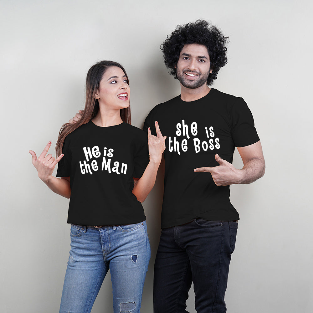 Stubborne He Is The Man She Is The Boss Couple T-Shirt Combo