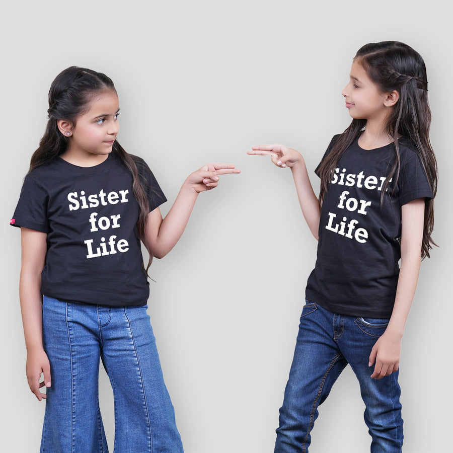 Stubborne Sisters For Life Matching Siblings T-Shirt Combo