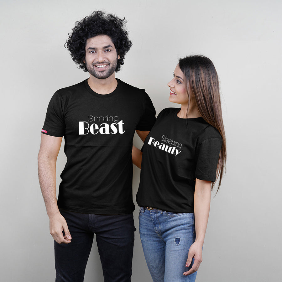 Beauty And Beast Black Couple T-Shirts