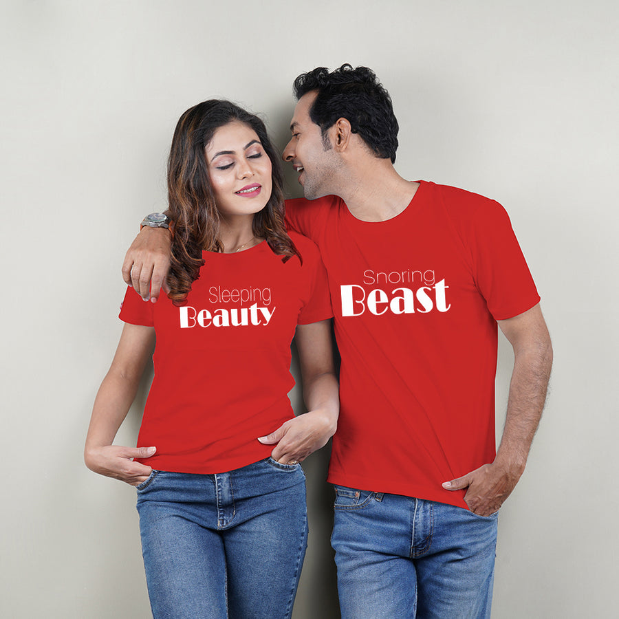 Beauty And Beast Red Couple T-Shirts