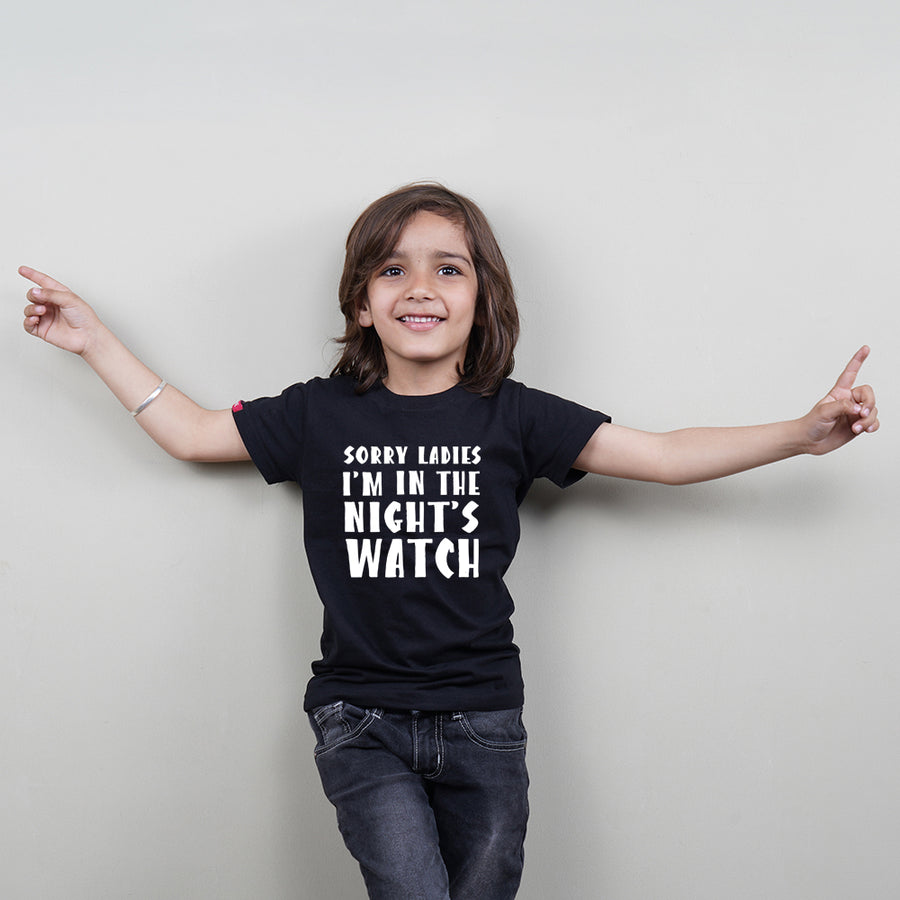 Kids Black Cotton T-Shirt (Boys) (Sorry I am In Night's Watch) Stubborne