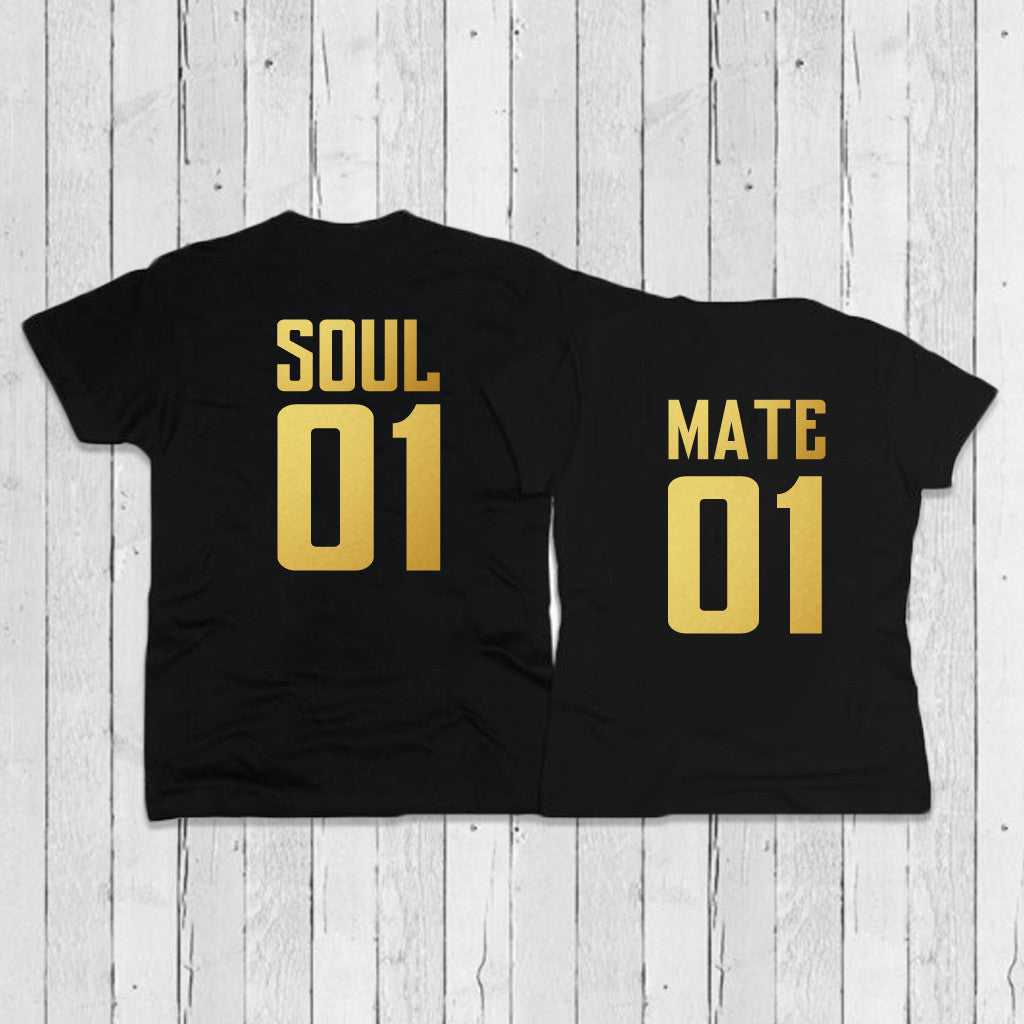 Stubborne Soul Mate Back Gold Foil Print Couple T-Shirt Combo