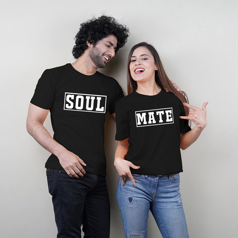 Stubborne Soul Mate Box Print Couple T-Shirt Combo