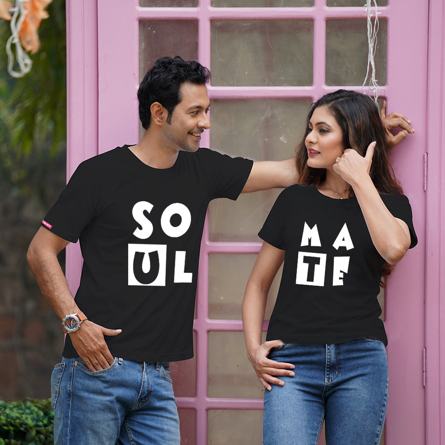 Stubborne Soul Mate Black and White Couple T-Shirt Combo