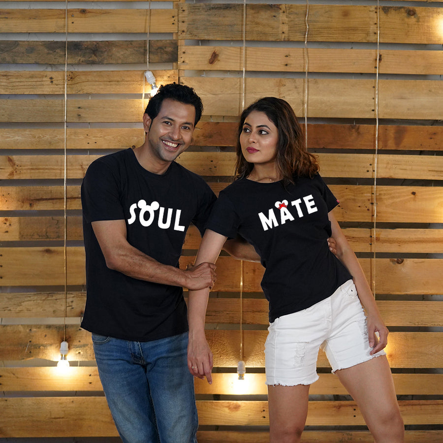 Stubborne Soul Mate Cute Couple T-Shirt Combo