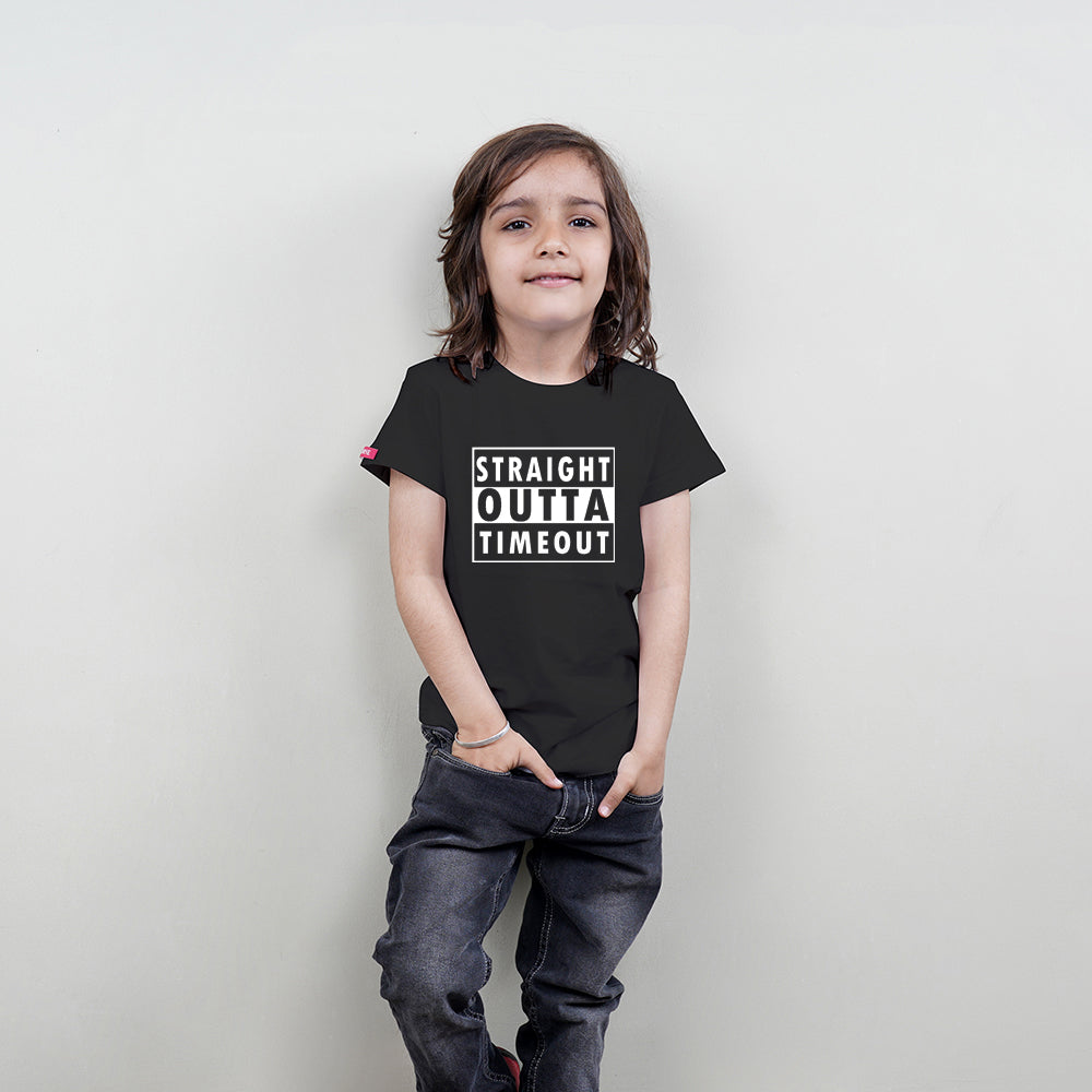 Cotton T-Shirt for Kids (Straight Outta Timeout) Stubborne