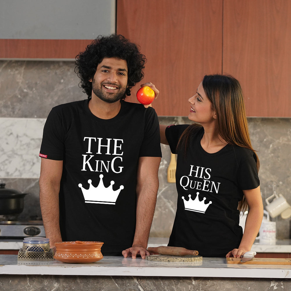 Stubborne The King and Queen Black Couple T-Shirt