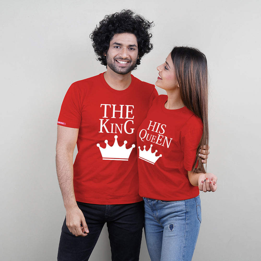 Stubborne The King and Queen Red Couple T-Shirt Combo