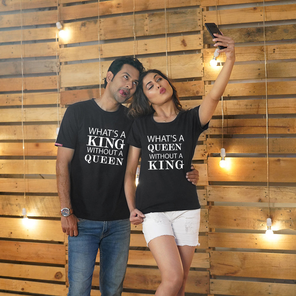 Stubborne What's A King Without Queen Black Couple T-Shirt Combo