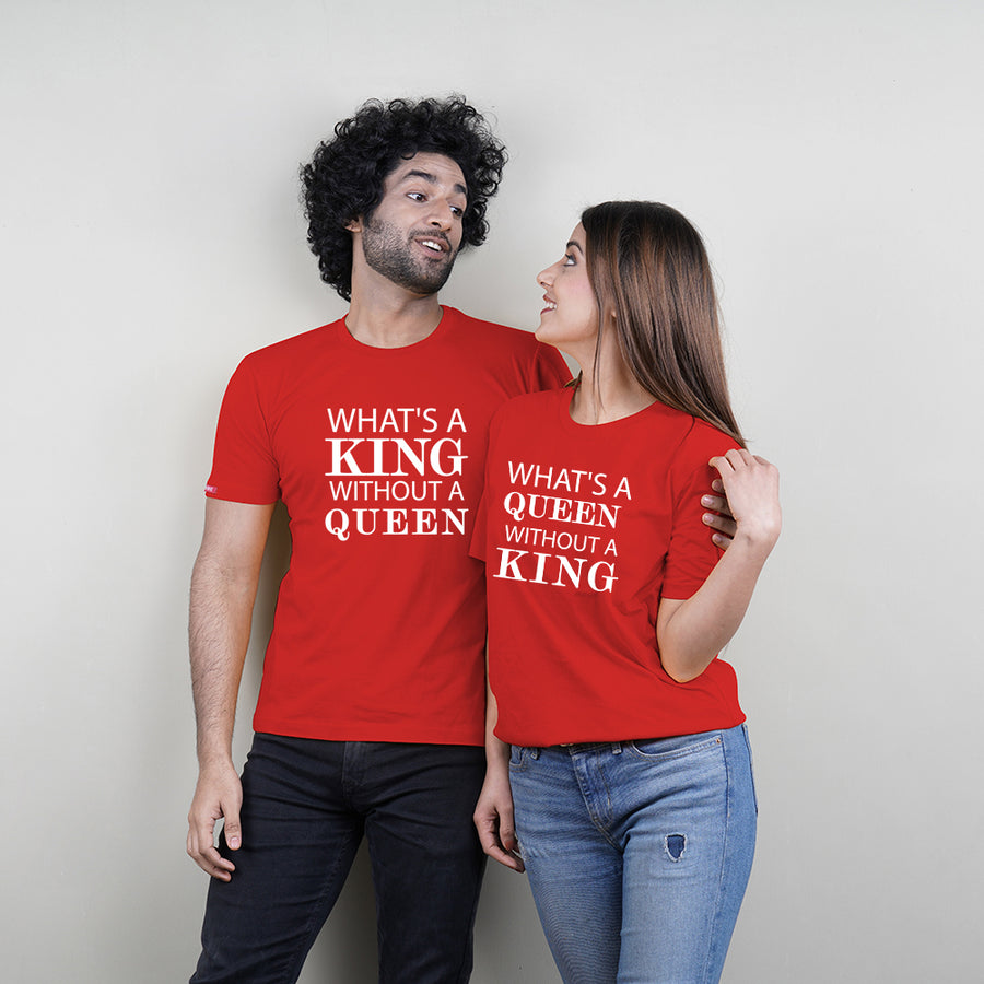 Stubborne King Without A Queen Red Couple T-Shirt Combo