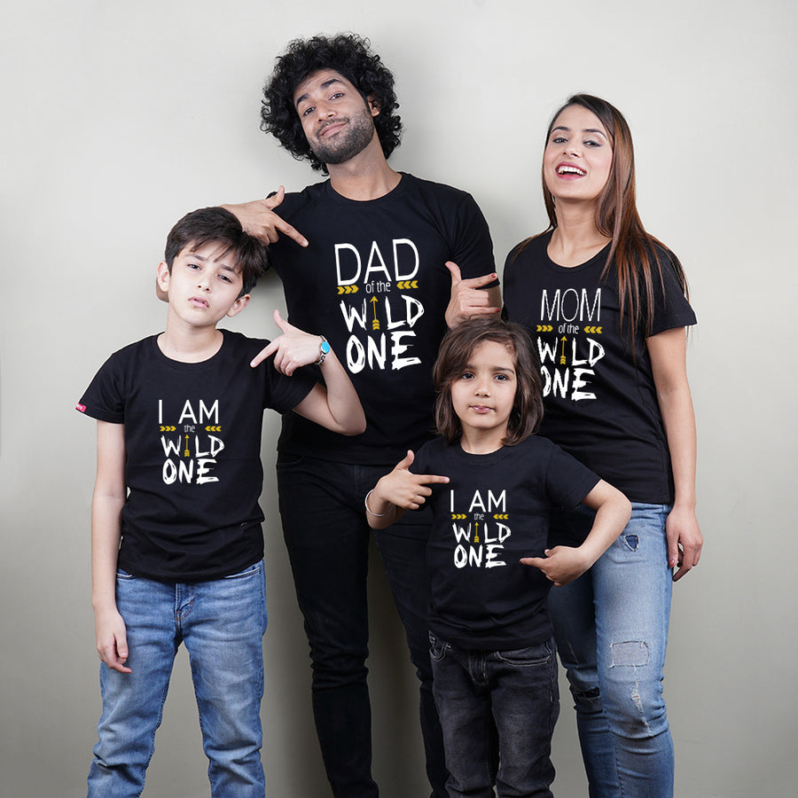 Wild One Mom Dad Kids Family TShirt Combo