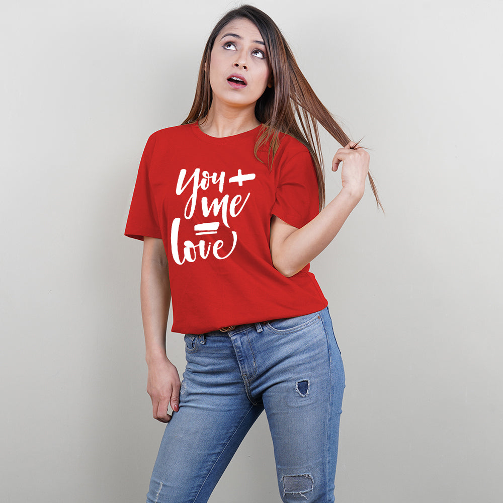 Stubborne You and Me Equals Love Red Couple T-Shirt Combo