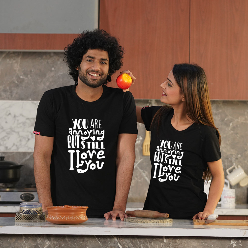 Stubborne Still Love You Black Couple T-Shirt Combo