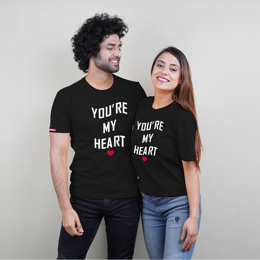 Stubborne You Are My Heart Black Couple T-Shirt
