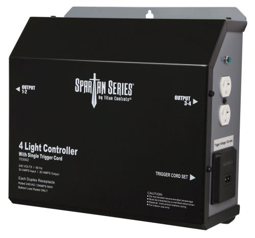 Titan Controls Spartan Series Metal 4 Light Controller 240 Volt w/ Trigger - Universal Outlets (4/Cs)