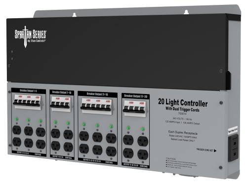 Titan Controls Spartan Series Metal 20 Light Controller 240 Volt w/ Dual Trigger Cords - Universal Outlets