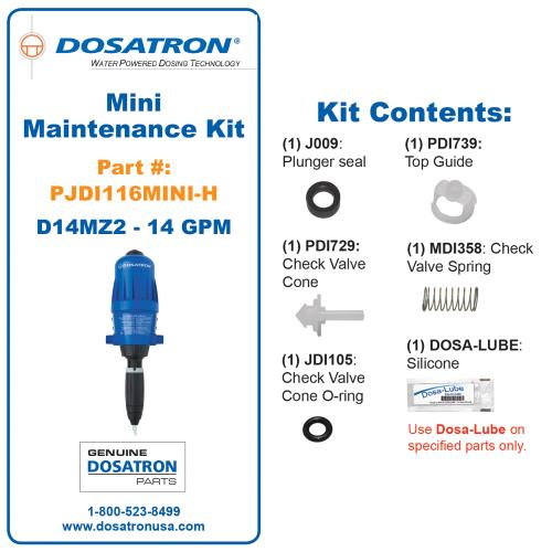 Dosatron Mini Seal Kit for D14MZ2 - 14 GPM