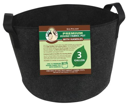 Gro Pro Premium Round Fabric Pot w/ Handles 3 Gallon - Black (72/Cs)