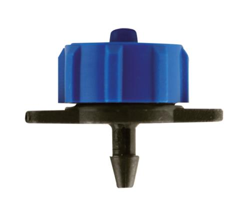 Hydro Flow Regulated Push-In Button Emitter Blue 2 GPH - Display Box (100/Box)