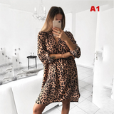 Paola short dress with leopard animalier long sleeves