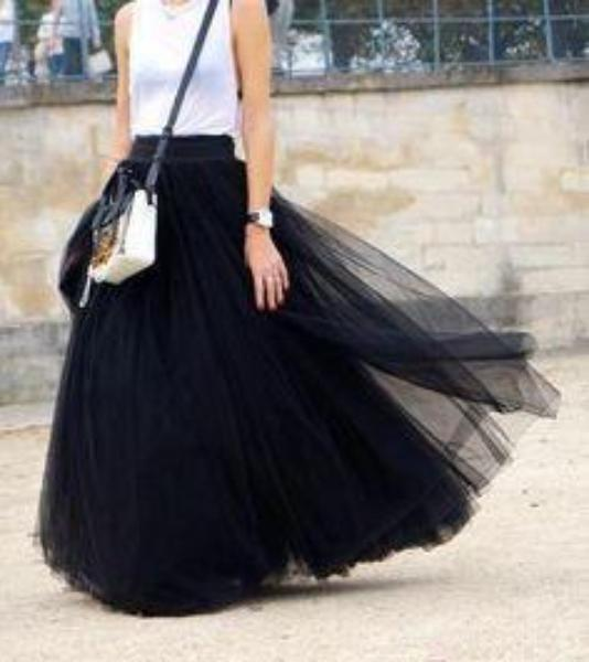 Gonna in tulle nero lunga a vita alta Maxi Tulle - @ShopLowCost