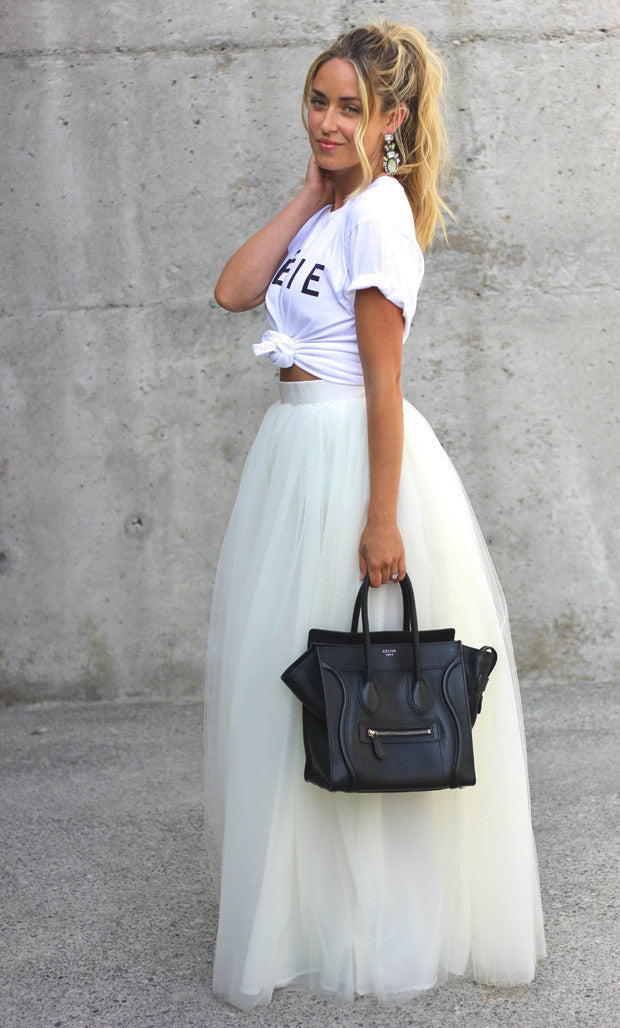 Gonna in tulle bianco a vita alta Maxi Tulle - @ShopLowCost